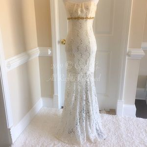 Ivory Strapless Mermaid Dress with Gold Detail